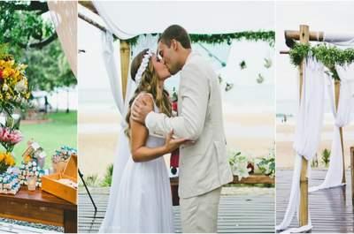 Casamento de frente para o mar de Cindy & Rafael: nem a chuva atrapalhou!