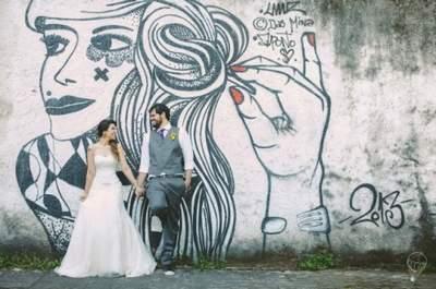 Casamento de Julia e Tico: festa divertida, estilo retrô e rock ´n roll