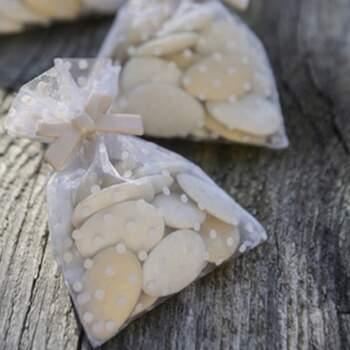 Sachets Blancs Aver Pois 10 Pièces - The Wedding Shop !