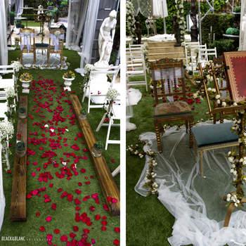 Cada vez son más los novios que optan por celebrar una ceremonia civil en el mismo lugar del convite y en este evento hubo muchas propuestas de decoración para ellos. Foto: Belle Day. http://belleday.com/es/