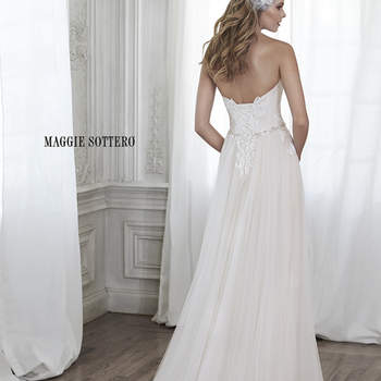 "This stunning tulle sheath gown is accented with dainty lace appliqués on the bodice and a delicate Swarovski crystal waist. Finished with sweetheart neckline and corset back closure.   <a href=""http://www.maggiesottero.com/dress.aspx?style=5MW154"" target=""_blank"">Maggie Sottero Spring 2015</a>"