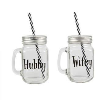 """Jarras de cristal """"Hubby"""" """"Wifey"""" 2 unidades- Compra en The Wedding Shop"""
