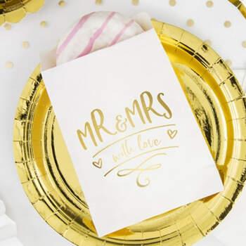 Bolsas De Papel Para Almendras Mr y Mrs 6 Unidades- Compra en The Wedding Shop