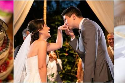 O casamento de Larissa & Rogerio: linda decoração Rústica em diferentes tons de rosa e vermelho!