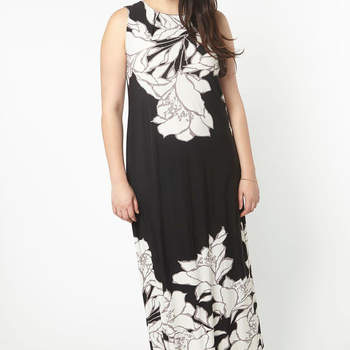 Black Floral Border Maxi Dress. Credits: Evans