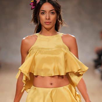 Noua Wong desfilou para a designer Micaela Oliveira