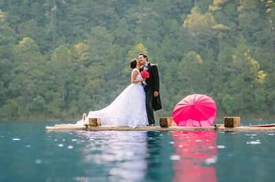 Una sesión Trash the Dress envuelta en magia natural: Lago de Montebello, Chiapas, el escenario perfecto