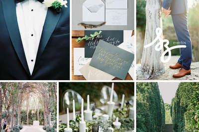 Azul + Cinza: inspiração de decoração de casamento ao ar livre ultra sofisticada e romântica