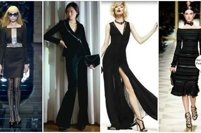 Tantissimo nero nelle Collezioni A/I 2012-13 degli stilisti italiani. Da sinistra Versace, Giorgio Armani, Roberto Cavalli, Salvatore Ferragamo.