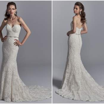 "This elegant sheath wedding dress features allover lace motifs and a strapless sweetheart neckline. Lined with shapewear for a luxe fit. Finished with crystal buttons over zipper closure. Detachable beaded belt accented in Swarovski crystals sold separately.  <a href=""https://www.maggiesottero.com/sottero-and-midgley/graham/11211?utm_source=zankyou&amp;utm_medium=gowngallery"" target=""_blank"">Sottero and Midgley</a>"