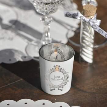Bougeoir En Verre Just Married - The Wedding Shop
