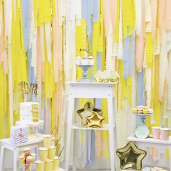 Décoration bandes jaunes 4 pièces - The Wedding Shop !