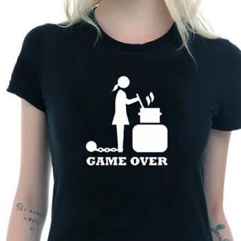 Camiseta negra GAME OVER mujer- Compra en The Wedding Shop
