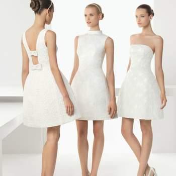 Tre modelli di abito da sposa corto in pizzo sangallo