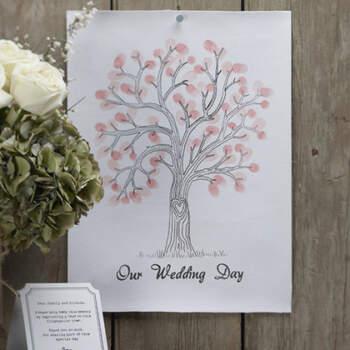Libro de firmas huella de amor rosa- Compra en The Wedding Shop