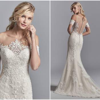"Lace motifs cascade over tulle and netting in this unique wedding dress, accenting the exquisite illusion neckline, cold shoulder sleeves, and illusion scoop back. Finished with covered buttons over zipper closure.  <a href=""https://www.maggiesottero.com/sottero-and-midgley/elin/11207?utm_source=zankyou&amp;utm_medium=gowngallery"" target=""_blank"">Sottero and Midgley</a>"