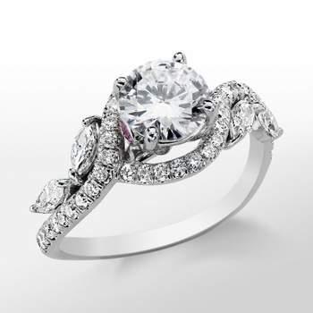 En la imagen: anillo de inspiración floral, con diamantes en pavé de corte redondo. Foto: Blue Nile