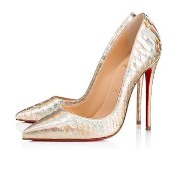 Chaussures de mariée argentées So Kate Python Laser, Christian Louboutin
