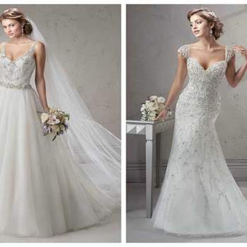 A princess cut and a mermaid cut bridal gown with rhinestone appliques