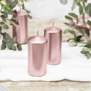 Bougies Cylindriques Décoratives Or Rose 6 Pièces - The Wedding Shop !