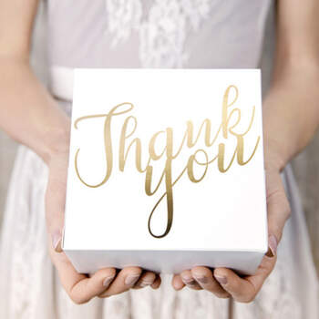 Caja para tarta Thank You oro 10 unidades- Compra en The Wedding Shop