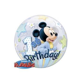 Ballon Bubble Baby Mickey 1st Birthday - The Wedding Shop !