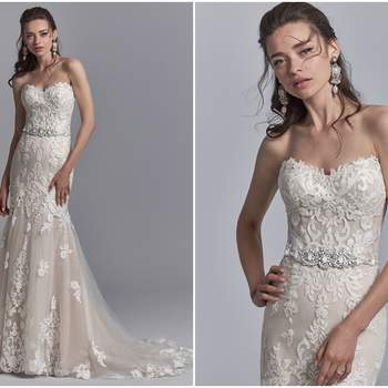 "Romantic lace motifs dance over tulle in this fit-and-flare wedding dress, featuring a beaded belt accented in Swarovski crystals, a strapless sweetheart neckline, and illusion scoop back with exposed boning accented in lace motifs. Finished with crystal buttons over zipper closure.  <a href=""https://www.maggiesottero.com/sottero-and-midgley/frankie/11209?utm_source=zankyou&amp;utm_medium=gowngallery"" target=""_blank"">Sottero and Midgley</a>"