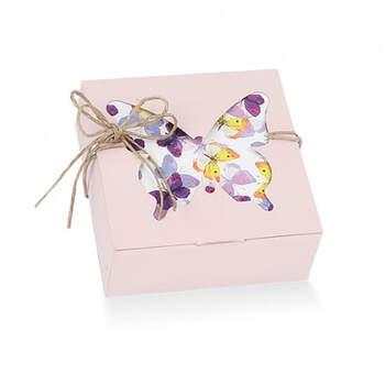 Caja plegable rosa nude mariposa 20 unidades - Compra en The Wedding Shop
