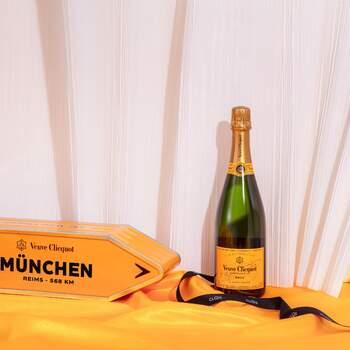 Der exklusive Champagner Veuve Clicquot Arrow in personalisierter und wiederverwendbarer Geschenkverpackung. Foto: Clos19.com