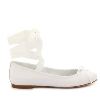 Weiße Ballerinas ohne Absatz