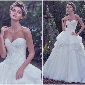 "The fitted bodice adorned with exquisite beadwork and lace, puts emphasis on the feminine shape, before meeting a voluminous, layered Opal organza ball gown skirt. Finished with a sweetheart neckline and corset closure.   <a href=""https://www.maggiesottero.com/maggie-sottero/florentina/9735"" target=""_blank"">Maggie Sottero</a>"