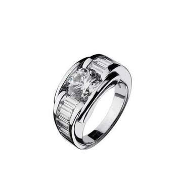 Bague Alessandra, or blanc, diamant brillant 1 ct, qualité GVS certifié, diamants baguette