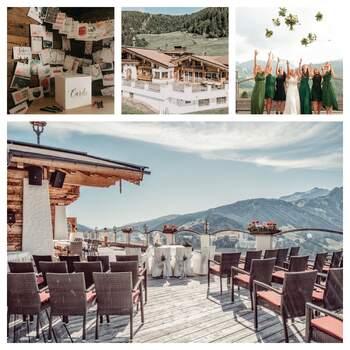 """Die Rössl Alm in Tirol, Österreich, bietet nicht nur eine Hochzeitslocation mit atemberaubendem Bergpanorama, sondern auch ein """"Rundum Sorglos Paket"""" für Brautpaare. Wer eine Hochzeit mit Almfeeling will, könnte sich keinen besseren Ort wünschen."""