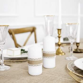 Ruban En Jute Avec Double Dentelle Blanc - The Wedding Shop !