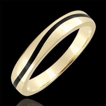 Otro modelo de anillo abovedado de oro blanco de 9 quilates, esta vez ondulado y atravesado por una franja de laca negra. Foto: Edenly.  http://tinyurl.com/d22bkmy