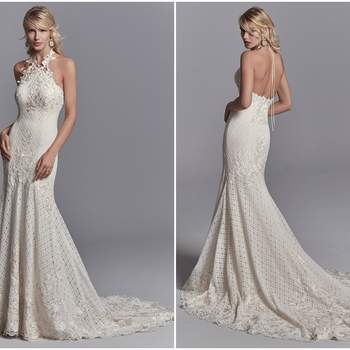 "Embroidered lace motifs cascade over allover lace in this unique wedding dress, accenting the bust, fit-and-flare skirt, and breathtaking train. Lace motifs create a halter neckline that ties over the open back. Lined with Viva Jersey for a luxe fit. Finished with zipper closure.  <a href=""https://www.maggiesottero.com/sottero-and-midgley/chance/11204?utm_source=zankyou&amp;utm_medium=gowngallery"" target=""_blank"">Sottero and Midgley</a>"