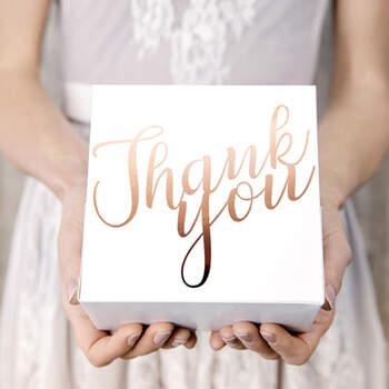 """Caja para Tarta de Boda """"Thank You"""" Color Rosa Oro 10 Unidades- Compra en The Wedding Shop"""