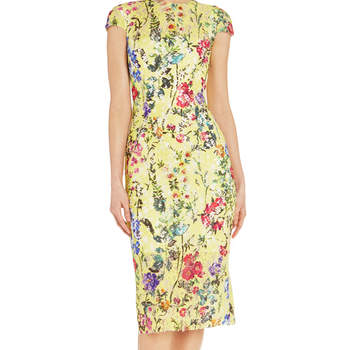 Garden floral sheath dress. Credits- Monique Lhuillier