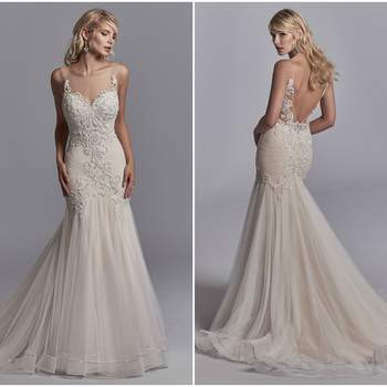 "Beaded lace motifs accented in Swarovski crystals dance over dotted tulle in this sexy wedding dress, completing the illusion sweetheart neckline and illusion V-back. Fit-and-flare skirt accented in horsehair and rhinestone trim. Lined with Naveen Jersey for a luxe fit. Finished with crystal buttons and zipper closure.  <a href=""https://www.maggiesottero.com/sottero-and-midgley/khloe/11214?utm_source=zankyou&amp;utm_medium=gowngallery"" target=""_blank"">Sottero and Midgley</a>"