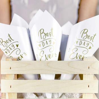 """Arroz """"Best Day Ever"""" blanco y oro 10 unidades- Compra en The Wedding Shop"""