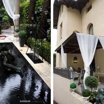 Los jardines de la finca también se decoraron para la ocasión y, aunque el tiempo no acompañó, fueron muchas las parejas que pasearon por ellos. Foto: Belle Day. http://belleday.com/es/