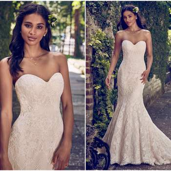 "This strapless fit-and-flare wedding dress features allover lace and a soft sweetheart neckline. Finished with covered buttons over zipper and inner elastic closure.  <a href=""https://www.maggiesottero.com/maggie-sottero/philomena/11184?utm_source=zankyou&amp;utm_medium=gowngallery"" target=""_blank"">Maggie Sottero</a>"