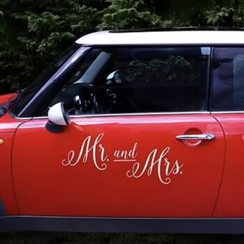 Sticker Pour Voiture Mr Et Mrs - The Wedding Shop !