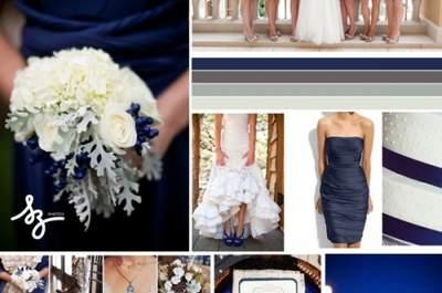 Collage de inspiración para decorar tu boda con tonos azules intensos