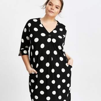 Black Spot Print Button Neck Shift Dress, Evans