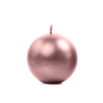 Vela esfera rosa dorada mediana 6 Unidades- Compra en The Wedding Shop