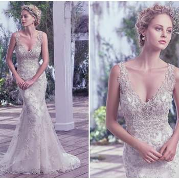"This bead embellished sheath wedding dress features Swarovski crystals. The illusion straps and plunging V-neckline add statement-making glamour. Finished with stunning scoop open back and zipper closure.   <a href=""https://www.maggiesottero.com/maggie-sottero/greer/9692"" target=""_blank"">Maggie Sottero</a>"