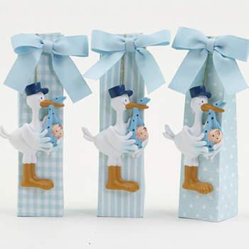 Imán cigüeña y caja lazo azul claro 3 unidades- Compra en The Wedding Shop