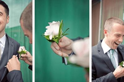 Guapísimo en la boda: Protocolo y etiqueta en boutonnieres para novios