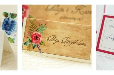 Winietki ślubne pełne uroku! Usadź swoich gości przy stole weselnym